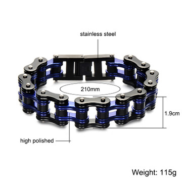 Mens Double Black 316L Stainless Steel Bicycle Motorcycle Link Chain Bracelet