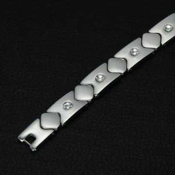 Men's Stainless Steel Iced Out Geranium Silver Bling Hologram Bracelet