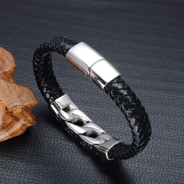 Mens Stainless Steel Black Genuine Leather Thick Cuban Style Magnet Buckle Bracelet