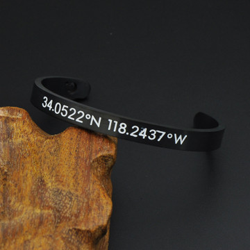 Los Angeles Latitude and Longitude Silver Cuff Bracelet