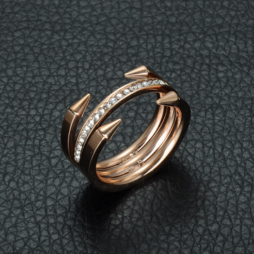 Ladies Titanium Stainless Steel Simulated Diamond Rose Gold Finger Nail Ring