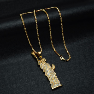 14k Gold Lab Diamond New York Statue of Liberty Chain Pendant Necklace