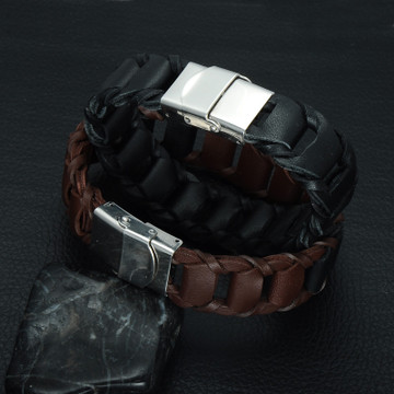Mens Black / Brown Genuine Leather Braid Bracelet