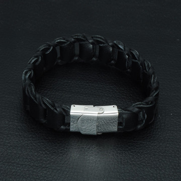 Mens Black / Brown Stainless Steel Genuine Leather Braid Bracelet
