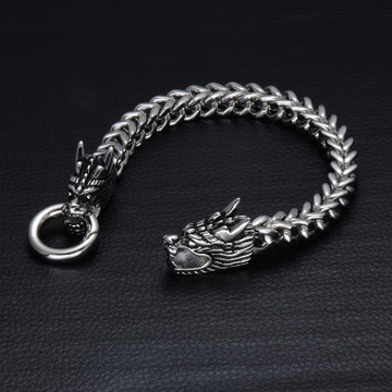 Mens 316L Stainless Steel Foxtail Chinese Style Dragon Chain Bracelet