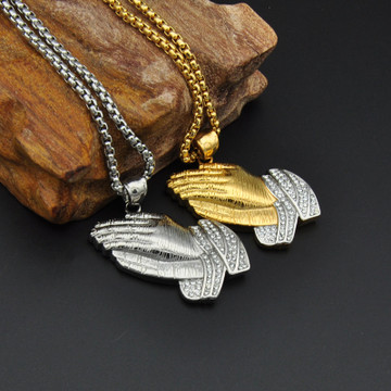 14k Gold Silver Titanium Stainless Steel Iced Out Praying Jesus Hands Pendant Chain Necklace