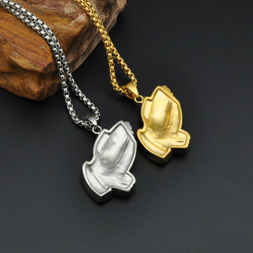 14k Gold Silver Titanium Stainless Steel IcedOut Praying Jesus Hands Pendant Chain Necklace