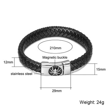 Men Black Braided Genuine Leather Stainless Steel Magnetic Buckle Spider Bracelet