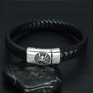 Braided Leather Spider Bracelet