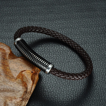 Men's  Black Genuine Leather Weave Stainless Steel Spring Magnetic Buckle Bracelet