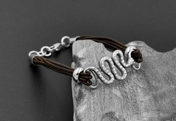 Leather Simulated Diamond Pave Snake Bracelet
