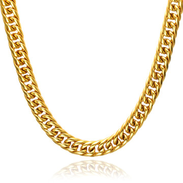 Mens 24Inch 14k Gold Heavy Titanium Stainless Steel Double Curb Cuban Link Chain Necklace