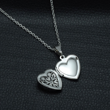 Silver Stainless Steel Hollow Heart Photo Locket Pendant Chain Necklace