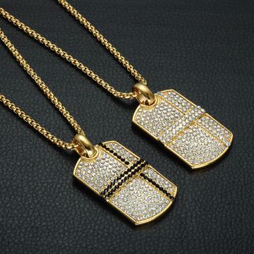 14k Gold Hip Hop Lab Diamond Bling Square Pendant