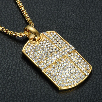 14k Gold Iced Out Lab Diamond Square Stainless Steel Dog Tag Pendant Chain