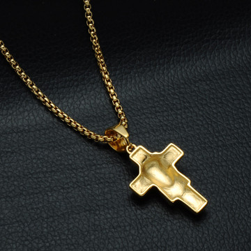Mens 14k Gold Lab Diamond 316L Stainless Steel Jesus Piece Cross Pendant Chain Necklace