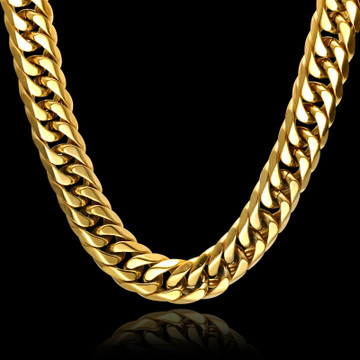 Hip Hop 24 INCH 16MM 14k Gold Flat Link Titanium Stainless Steel Double Rombo Link Chain Necklace