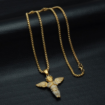 Mens 14k Gold Angel Of Peace Lab Diamond Stainless Steel Cherub Pendant Chain