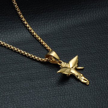 Mens 14k Gold Angel Of Wrath Lab Diamond Stainless Steel Cherub Pendant Chain