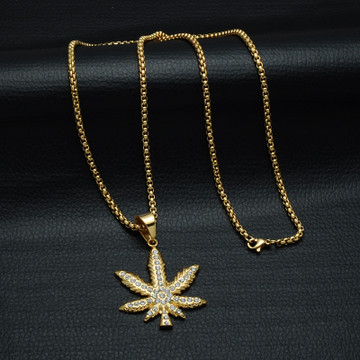 14k Gold Lab Diamond Weed Cannabis Leaf Pendant Chain