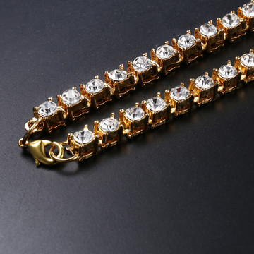 Mens 1 Row Lab Diamond 14k Gold Tennis Chain Necklace