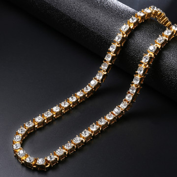 Hip Hop Bling Iced Out 1 Row Lab Diamond 14k Gold Tennis Chain