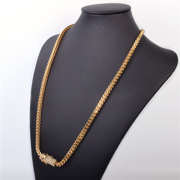 Mens 18k Gold .925 Silver Stainles Steel Iced Out Lab Diamond Franco Cuban Link Chain