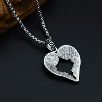 Titanium Stainless Steel Angel Feathers Heart Shape Pendant Necklace