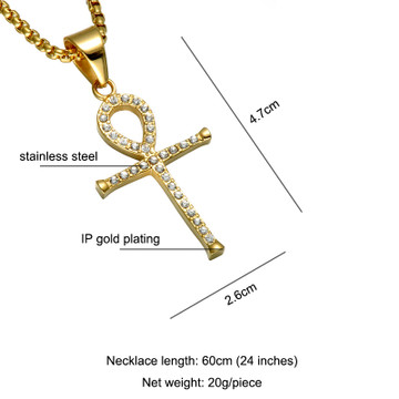 14k Gold Stainless Steel African Egyptian Ankh Cross Pendant Chain Necklace