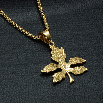 Titanium Stainless Steel 14k Gold Weed Leaf Pendant Chain Necklace