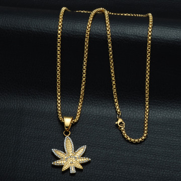 14k Gold Micro Pave Titanium Iced Out Weed Leaf Plant Pendant Chain Necklace