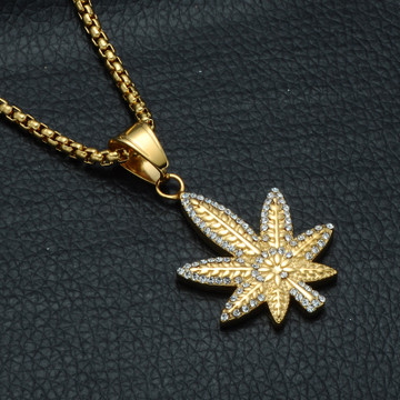 Gold Micro Pave Titanium Iced Out Weed Leaf Plant Pendant