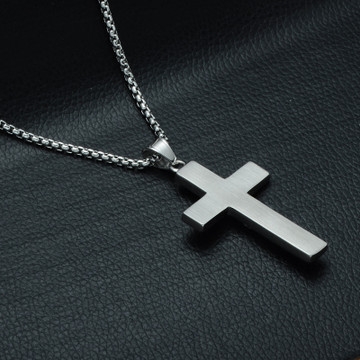 .925 Silver Iced Out 3D Jesus Block Titanium Stainless Steel Cross Pendant
