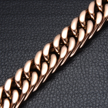 Mens 14.7MM Double Miami Cuban Rose Gold Titanium Stainless Steel Bracelet