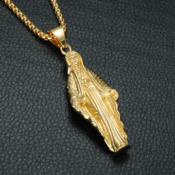 14k Gold Silver Titanium Stainless Steel Virgin Mother Mary Pendant