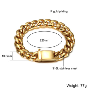 Mens 14k Gold 316L Stainless Steel Curb Cuban Link Chain Bracelet