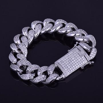Big Boy 18mm Chunky Iced Out Lab Diamond Miami Cuban Link Hip Hop Bracelet