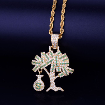 14k Gold Silver Mens Iced Out Lab Diamond Money Tree Chain Pendant
