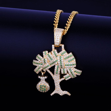 18k Gold .925 Silver Mens Iced AAA True Micro Pave Money Tree Hip Hop Chain Pendant