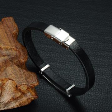 Mens Genuine Leather Gold Silver Black Stainless Steel Geometric Bracelet