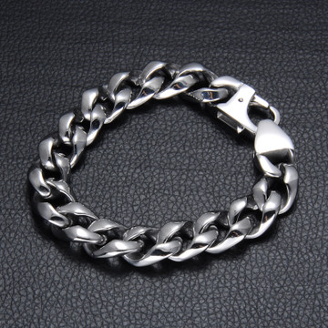 Mens Classic Silver 316L Stainless Steel Curb Cuban Link Chain Bracelet