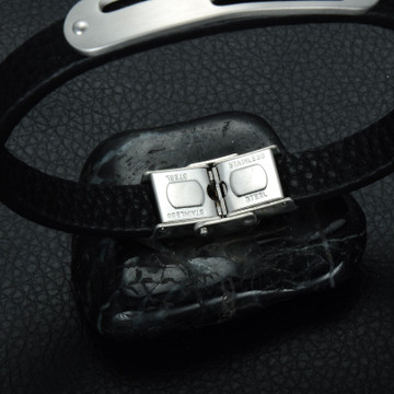 Mens Genuine Leather Double Squared Stainless Steel ID Bracelet