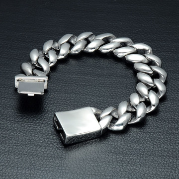 Mens Stainless Steel Silver Black Curb Cuban Link Chain Bracelet