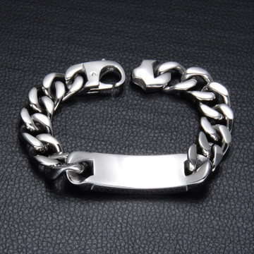Mens 316L Stainless Steel ID Style Silver Cuban Link Chain Bracelet