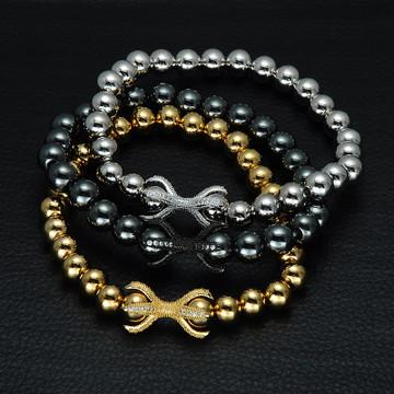 14k Gold Silver Black Beaded Bracelet