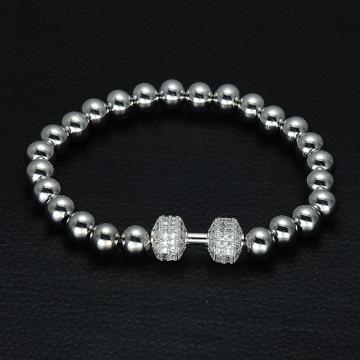 Mens Lab Diamond Stainless Steel Dumbbell Beaded Bling Bracelet