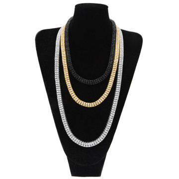 Mens Hip Hop Lab Diamond Bling 9mm 2 Row 14k Gold Silver Black Tennis Chain Necklace