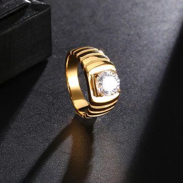 Center Stone Iced Out Ring