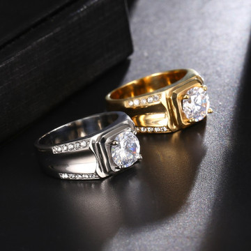 Iced Out Lab Diamond Titanium Stainless Steel Baller Ring