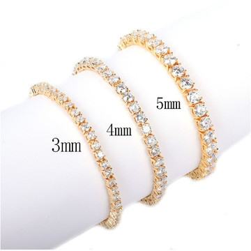 Mens Iced Out Lab Diamond 14k Rose Gold Silver Tennis Chain Bracelet
